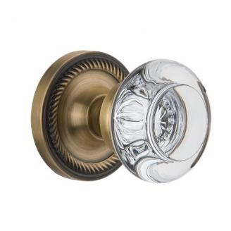 Nostalgic Warehouse Round Clear Crystal Knob Set with Rope Rose Antique Brass