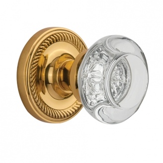 Nostalgic Warehouse Round Clear Crystal Privacy Mortise with Rope Rose PB