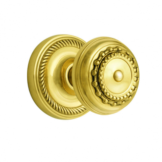 Nostalgic Warehouse Meadows Knob Privacy Mortise with Rope Rose Polished Brass