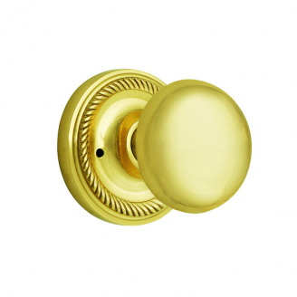 Nostalgic Warehouse New York Privacy Mortise with Rope Rose Polished Brass