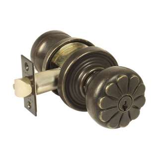 Emtek Petal Keyed Entry Door Knob with #12 Rose in Medium Bronze (MB)