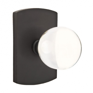 Emtek Bronze Bristol Crystal Door Knob with #4 Rose Flat Black Patina (FB)
