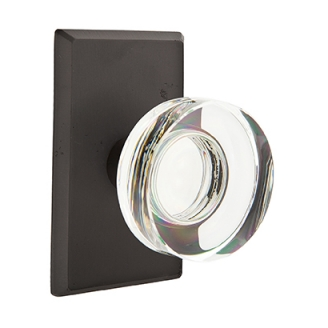 Emtek Bronze Modern Disc Crystal Door Knob with #3 Rose Flat Black Patina (FB)