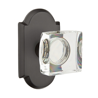 Emtek Bronze Modern Square Crystal Door Knob with #1 Rose Flat Black Patina