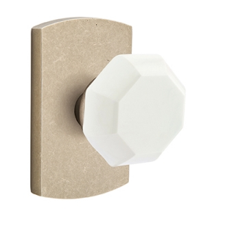 Emtek Bronze Old Town Milk Door Knob with #4 Rose Tumbled White Bronze