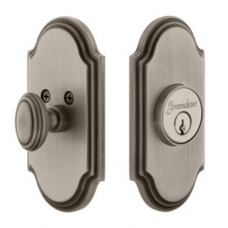Grandeur Arc Single Cylinder Deadbolt Antique Pewter