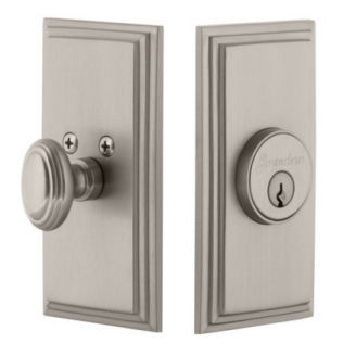Grandeur Carre Single Cylinder Deadbolt Satin Nickel