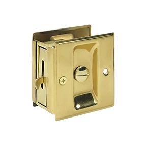 Deltana SDL25 Privacy Pocket Door Lock in Polished Brass (US3)