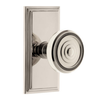 Grandeur Soleil Door Knob Set with Carre Short Plate Polished Nickel