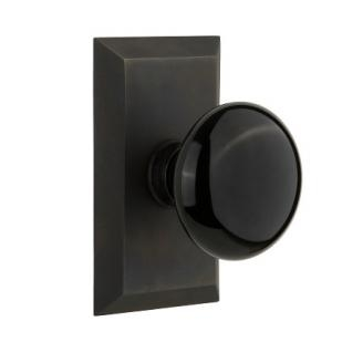 Nostalgic Warehouse Studio Plate with Black Porcelain Knob Oil Rubbed Bronze