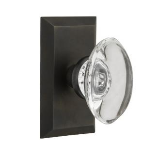 Nostalgic Warehouse Studio Plate with Oval Crystal Knob Oil Rubbed Bronze