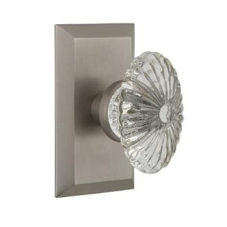 Nostalgic Warehouse Studio Plate with Oval Fluted Crystal Knob Satin Nickel