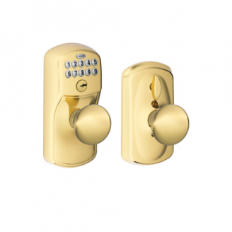 Schlage Flex Lock Plymouth Keypad with Plymouth Knob Lifetime Brass (505)