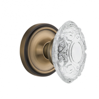 Nostalgic Warehouse Crystal Victorian Knob Set with Classic Rose Antique Brass