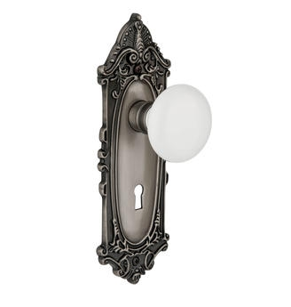 Nostalgic Warehouse Victorian Backplate with White Porcelain Knob Antique Pewter