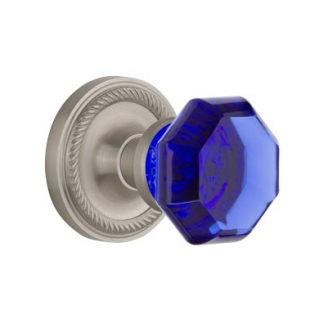 Nostalgic Warehouse Waldorf Cobalt Crystal Knob Set Rope Rose in Satin Nickel