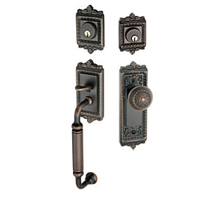 Grandeur Windsor Handleset shown with Windsor Knob in Timeless Bronze (TB)