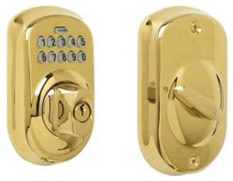 Schlage BE365-PLY Electronic Keypad 505 Lifetime Polished Brass