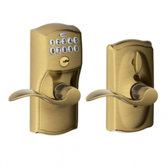 Schlage FE59CAM609ACC Camelot Keypad Flex Lock w/Accent leve Antique Brass (609)