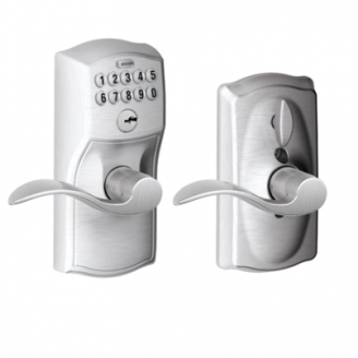 Schlage FE59CAM626ACC Camelot Keypad Flex Lock w/Accent lever Satin Chrome (626)