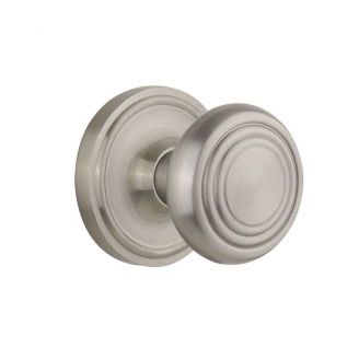 Nostalgic Warehouse CLADEC Deco Knob Set with Classic Rose Satin Nickel