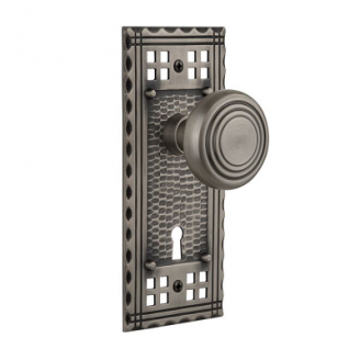 Nostalgic Warehouse Craftsman Backplate Privacy Mortise with Deco knob AP