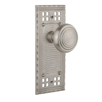 Nostalgic Warehouse Craftsman Backplate with Deco knob Satin Nickel (SN)