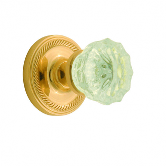 Nostalgic Warehouse Crystal Knob Privacy Mortise with Rope Rose Polished Brass