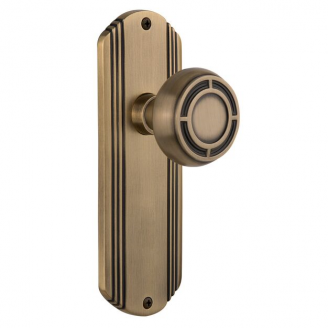 Nostalgic Warehouse Deco Backplate with Mission Knob Antique Brass