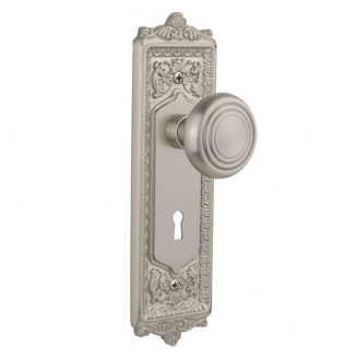Nostalgic Warehouse Egg & Dart Backplate with Deco knob Satin Nickel