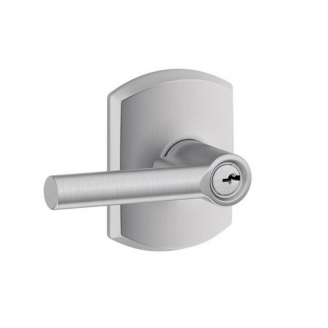 Schlage F51ABRW626GRW Broadway Keyed Entry Door Lever Set with Greenwich Rose