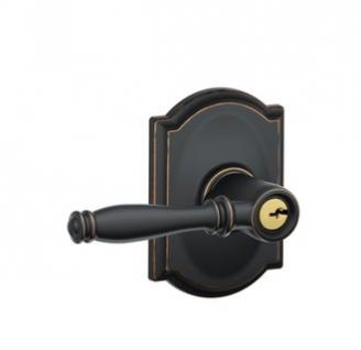 Schlage Birmingham Lever with Camelot Decorative Rose in Aged Bronze (716)