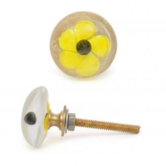 PotteryVille Yellow Flower with Black Center Glass Knob
