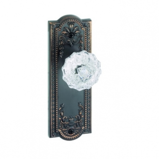 Grandeur Parthenon Backplate with Fountainebleau knob Timeless Bronze