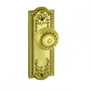Grandeur Parthenon Backplate with Parthenon knob Polished Brass