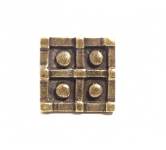 Emenee OR377 Four Button Square Cabinet Knob shown in Antique Matte Gold (AMG)