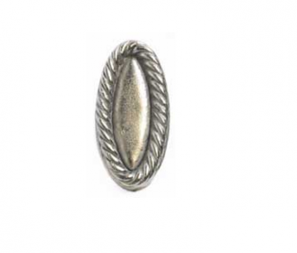 Emenee OR387 Rope Oval Cabinet Knob shown in Antique Bright Silver (ABS)