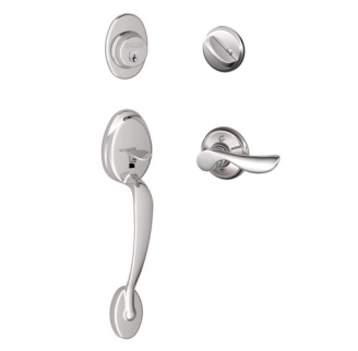 Schlage F60 Plymouth Handleset w/Champange Lever Polished Chrome (625)