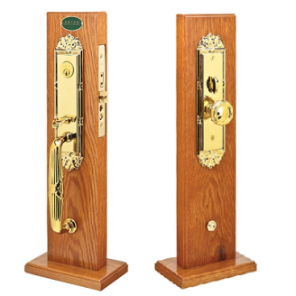 Emtek Regency Mortise Handleset with Ribbon and Reed Knob Lifetime Brass (PVD)