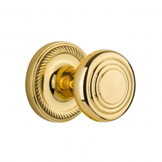 Nostalgic Warehouse ROPDEC Deco Knob Set with Rope Rose Polished Brass