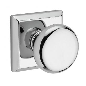 Baldwin Reserve Round Knob shown with Square Rose (TSR) in Polished Chrome (260)