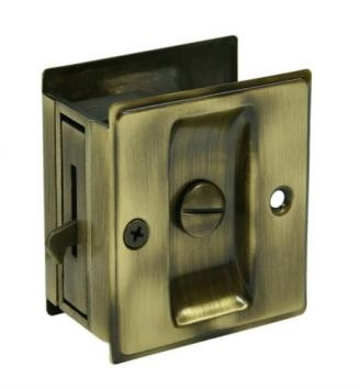 Deltana SDL25 Privacy Pocket Door Lock in Antique Brass (US5)