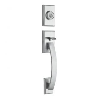 Kwikset Tavaris Handleset shown in Satin Chrome (26D)