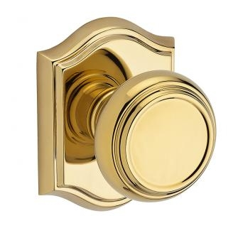 Baldwin Reserve Traditional Knob shown with Arch Rose in Polished Brass (003)