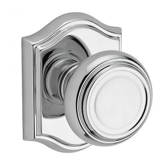 Baldwin Reserve Traditional Knob shown with Arch Rose in Polished Chrome (260)