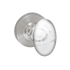 Fusion Clear Glass Egg Knob with Contemporary Rose Brushed Nickel