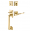 Emtek 4820 Baden Handleset with Helios Brass Lever Satin Brass