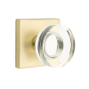 Emtek Modern Disc Crystal Door Knob Set with Square Rose Satin Brass
