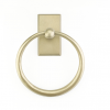 Emtek 2301 Sandcast Bronze Towel Ring with #3 Rose Tumbled White Bronze (TWB)