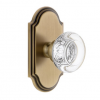 Grandeur Bordeaux Crystal Door Knob with Arc Short Plate Vintage Brass